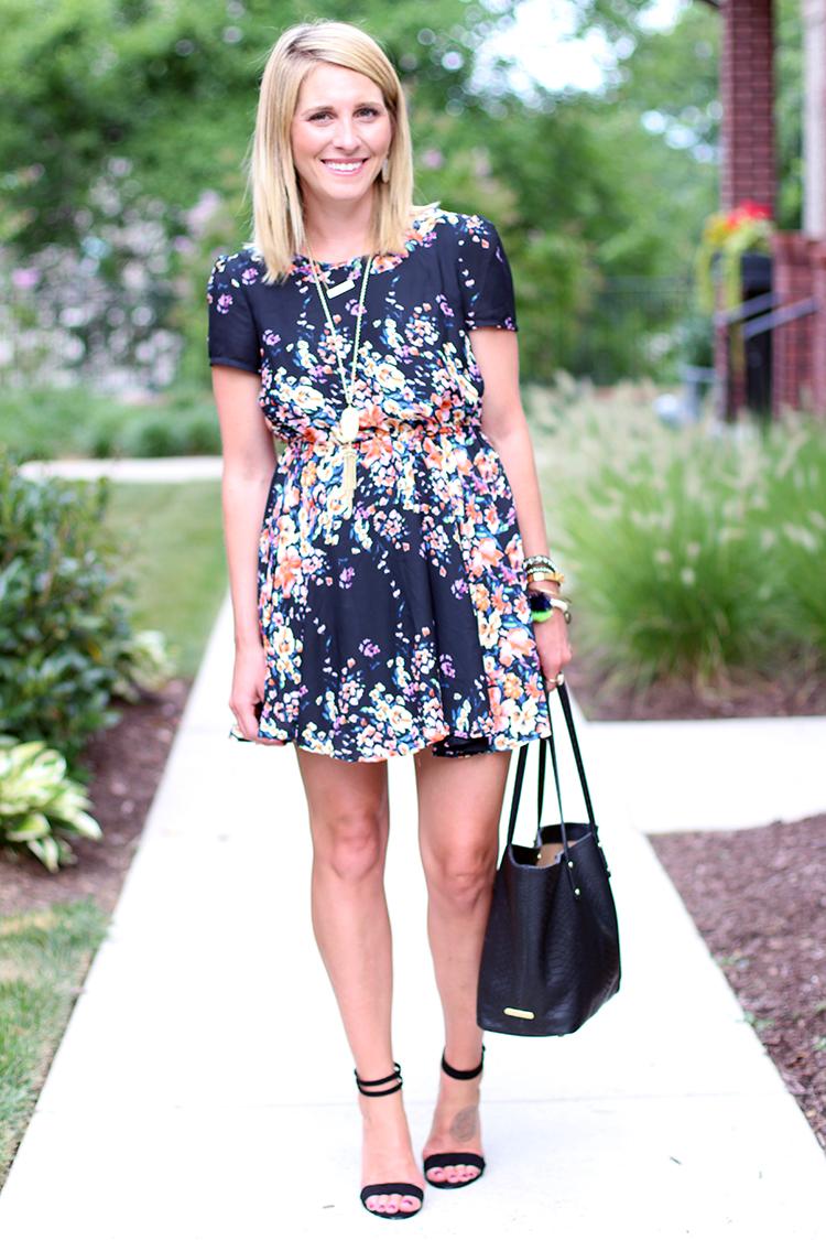 Black & Neon Floral Dress, Floral Dress, Summer Outfit Idea