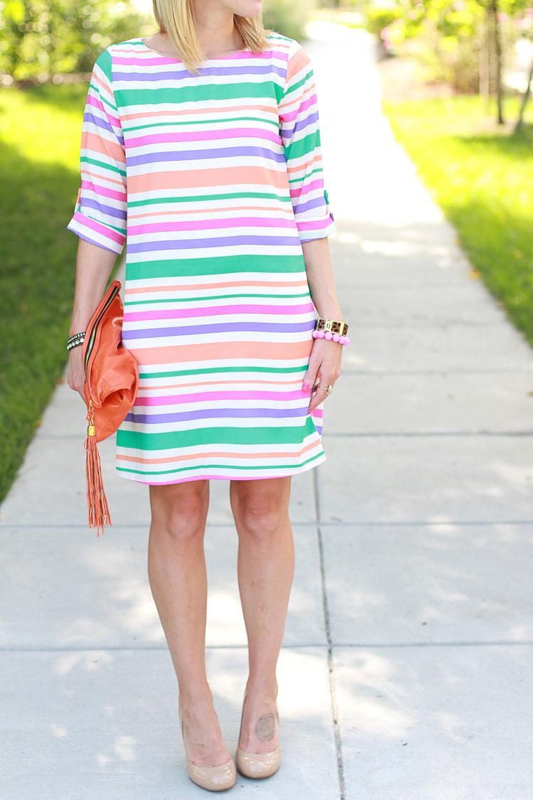 Casual Shift Dress, Striped Shift Dress