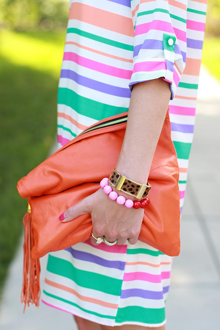 Blair Ritchey Bag, Striped Dress, Brights