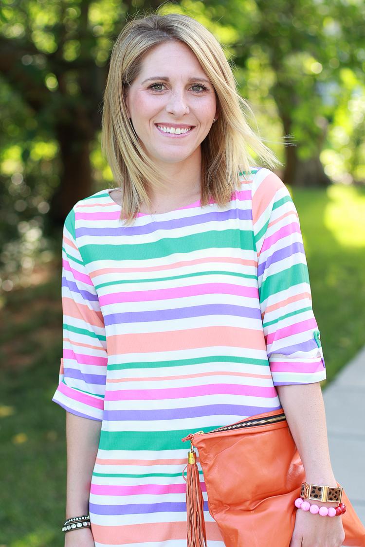 Summer Brights, Striped Dress, Shift Dress