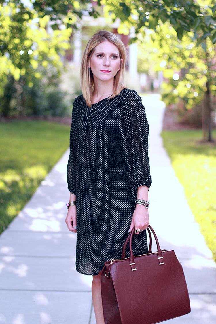 Black Polka Dot Shift Dress, H&M Shift Dress, Burgundy Bag, Fall Outfit Idea