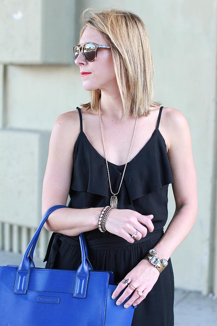 Fall Outfit Idea, Jumper, Fall Fashion, Black & Blue Outfit