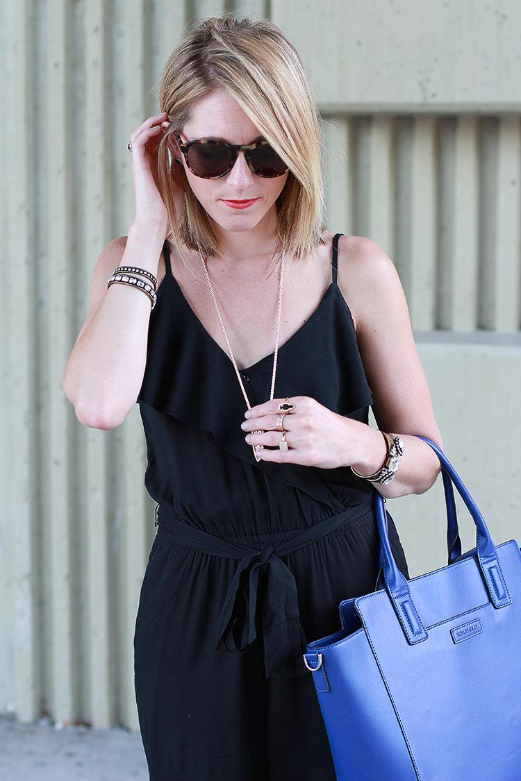 Simple Black Jumpsuit, Black Jumper, Fall Fashion, Black & Blue Outfit