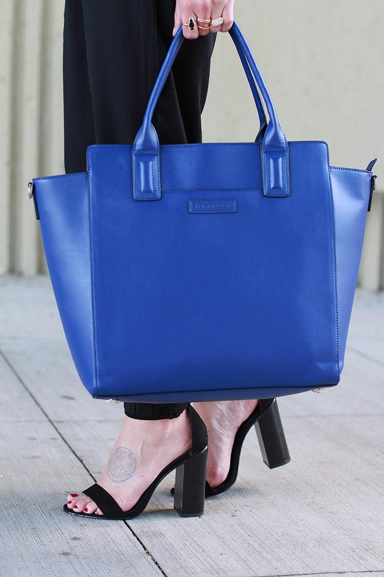Vera Bradley Leather Bag, Black Jumper, Fall Fashion, Black & Blue Outfit