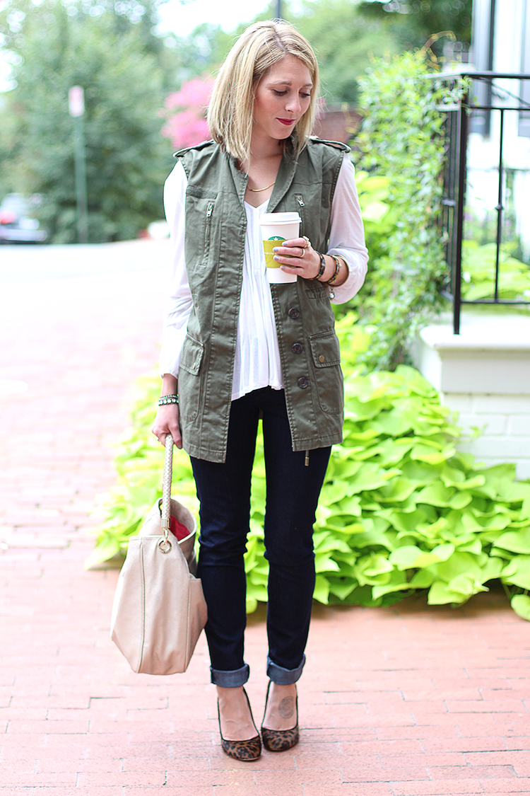 How To Style A Utility Vest, Fall Casual, Leopard Print Heels
