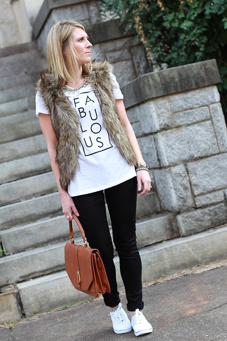 Fall Outfit Idea, Faux Fur Vest