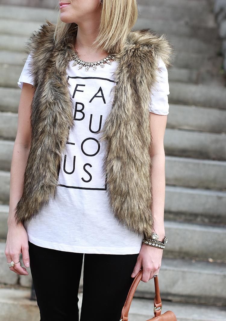 Fur Vest, Graphic Tee, How To Style A Fur Vest