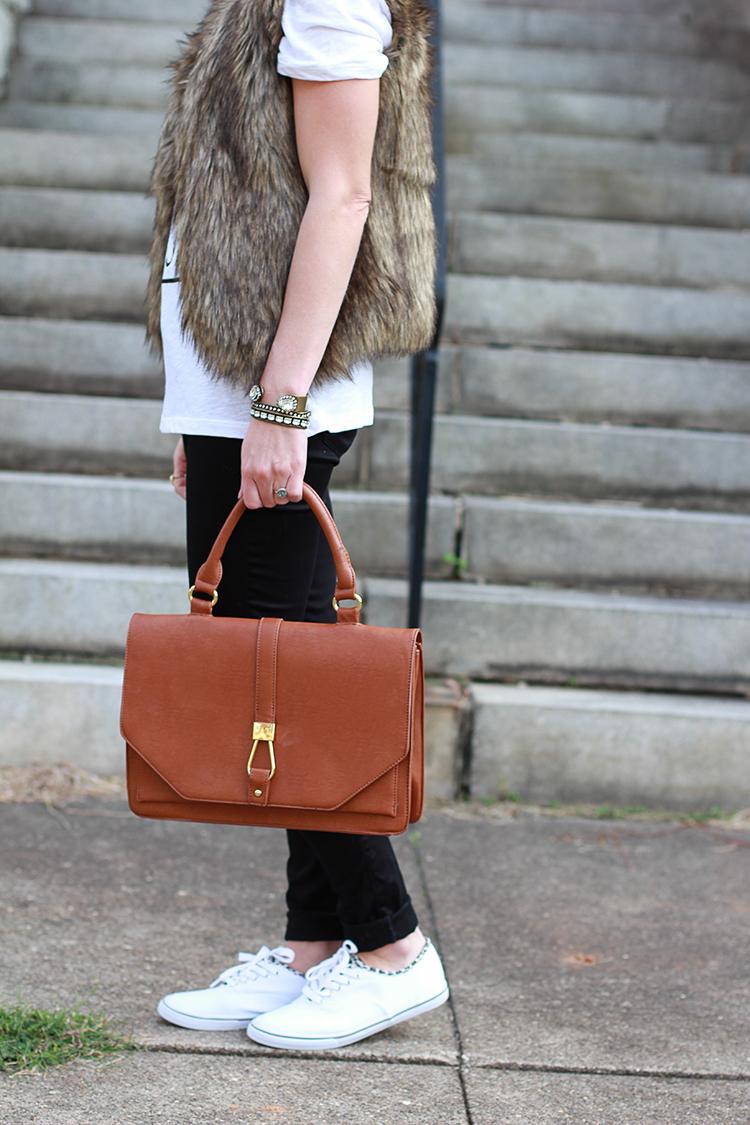 Faux Fur Vest, Black Pants, Graphic Tee, Sole Society Bag