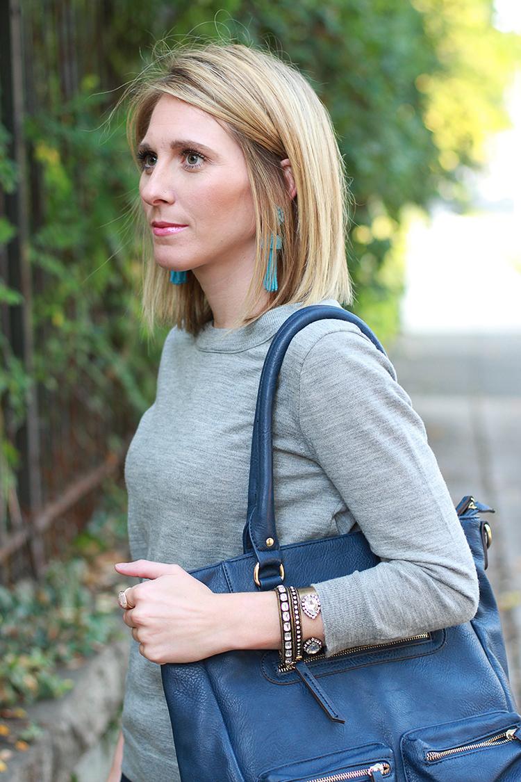 Grey Sweater, Navy Bag, Denim, Fall Outfit Idea
