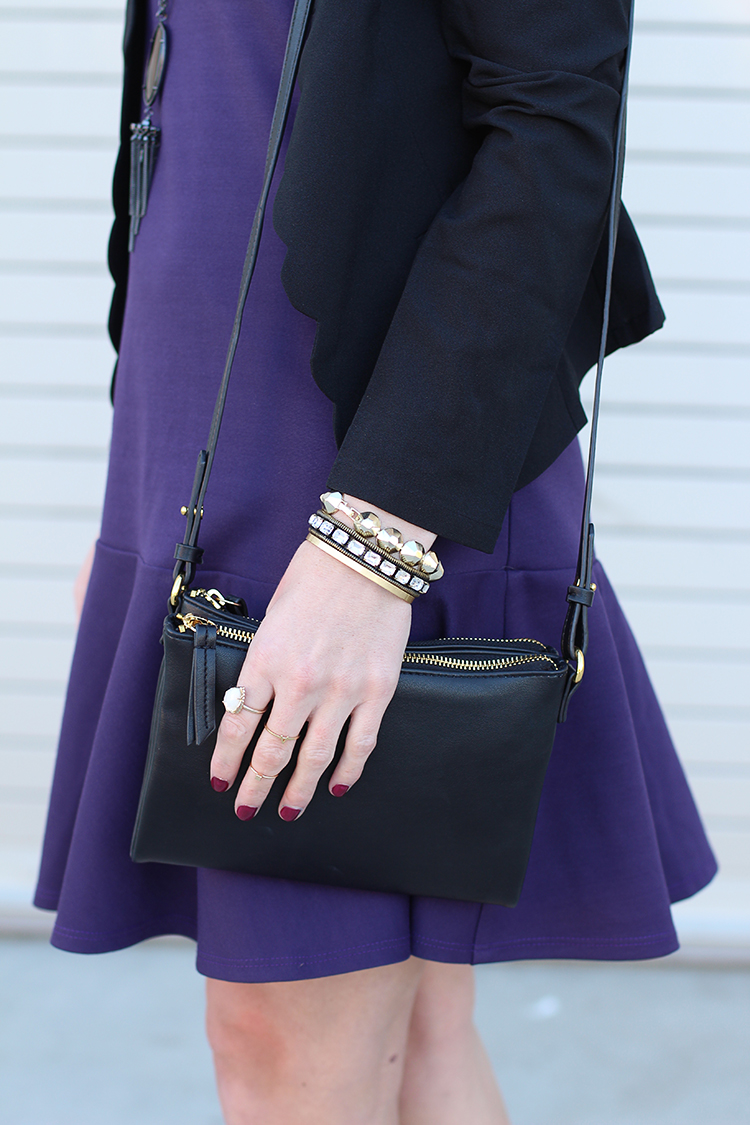 Purple Dress, Black Crossbody, Scalloped Blazer