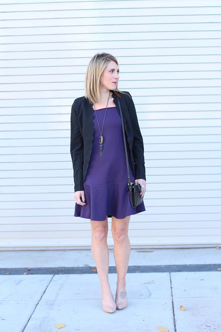 Fall Outfit Idea, Knit Dress, Black Crossbody, Nude Heels