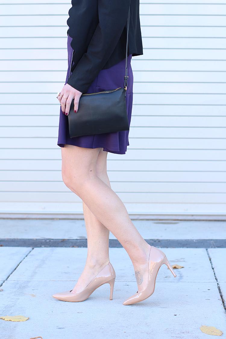 Nude Heels, Purple Knit Dress, Plum, Let It Be Beautiful