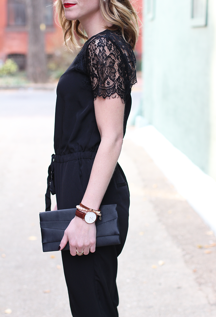 Lace Details, Black Lace, Holiday Outfit Idea, Bold Red Lip