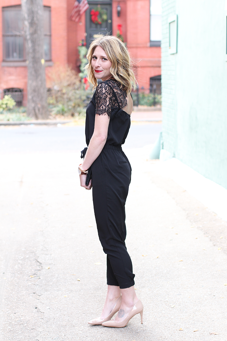 Loft Jumpsuit, How To Style A Black Jumpsuit, Bold Red Lip