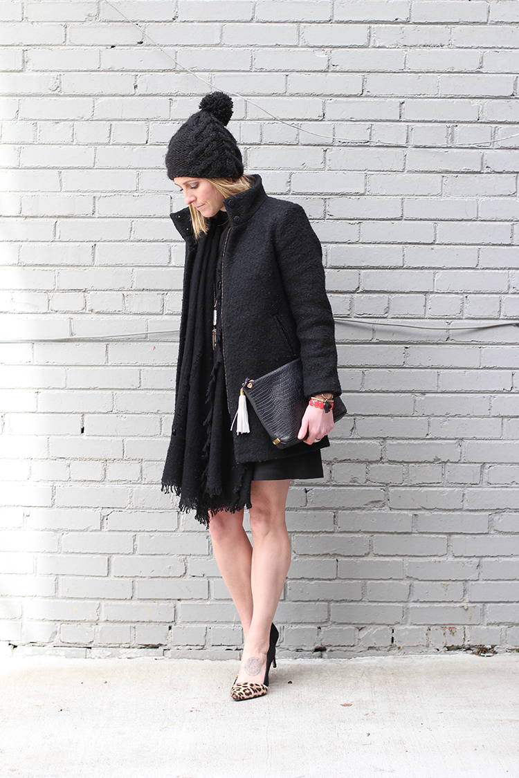 Simple Black Dress, All Black Outfit, Dressy Black Coat