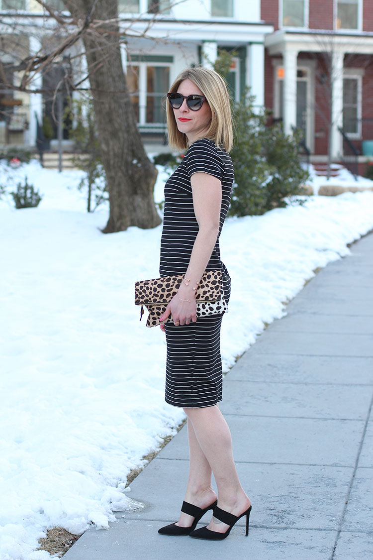 Leopard & Stripes, Black Mules