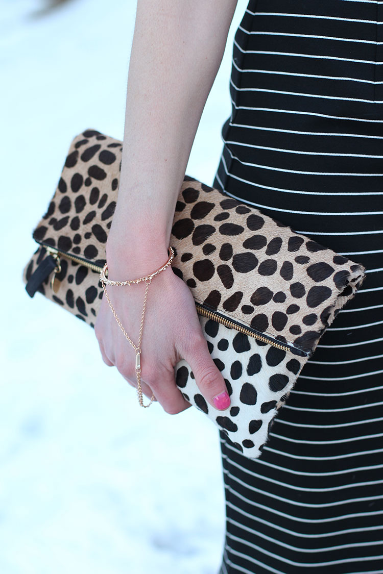 Leopard Clutch, Striped Dress
