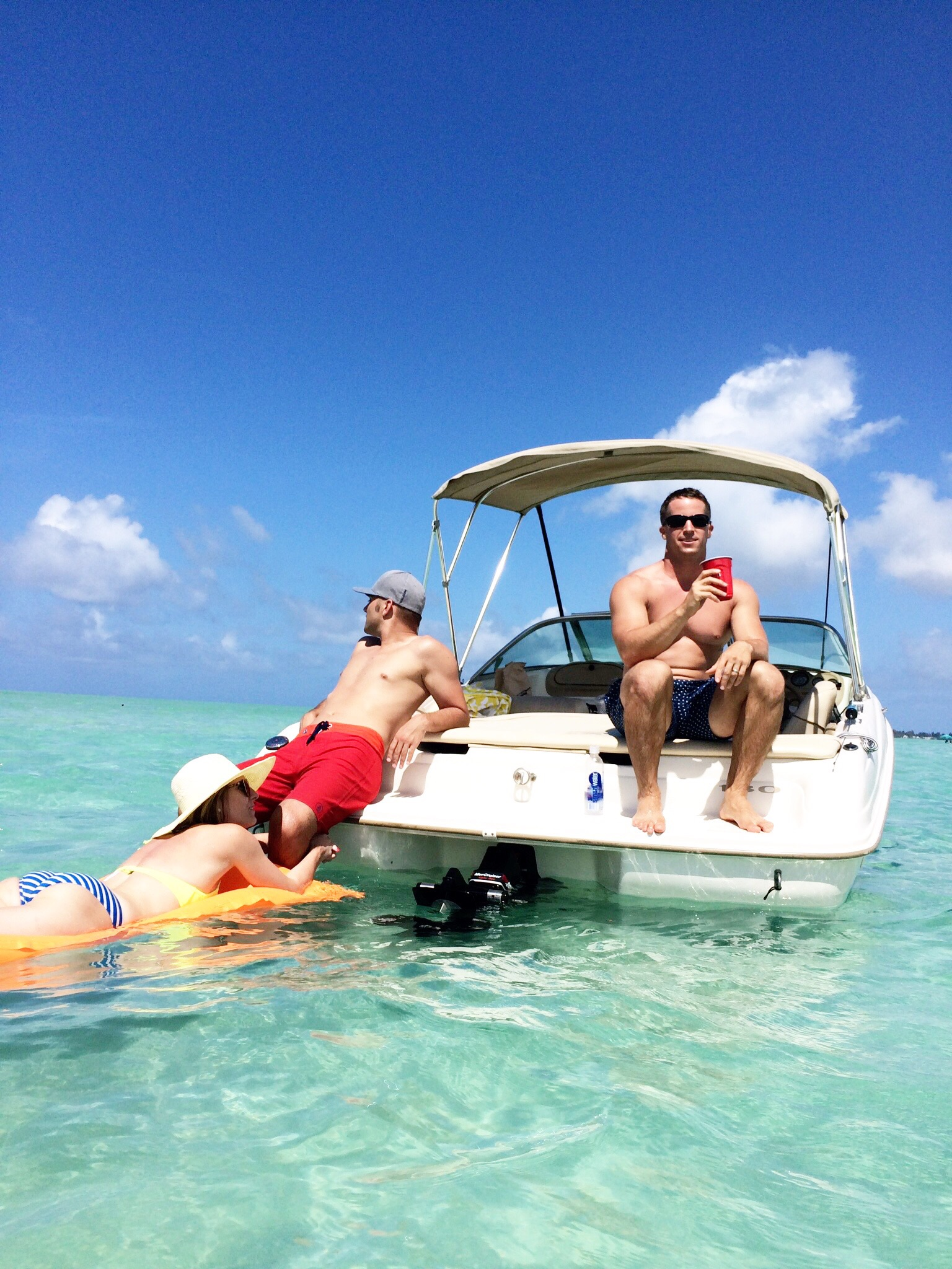 Relaxing on the Kaneohe Sandbar with good friends.