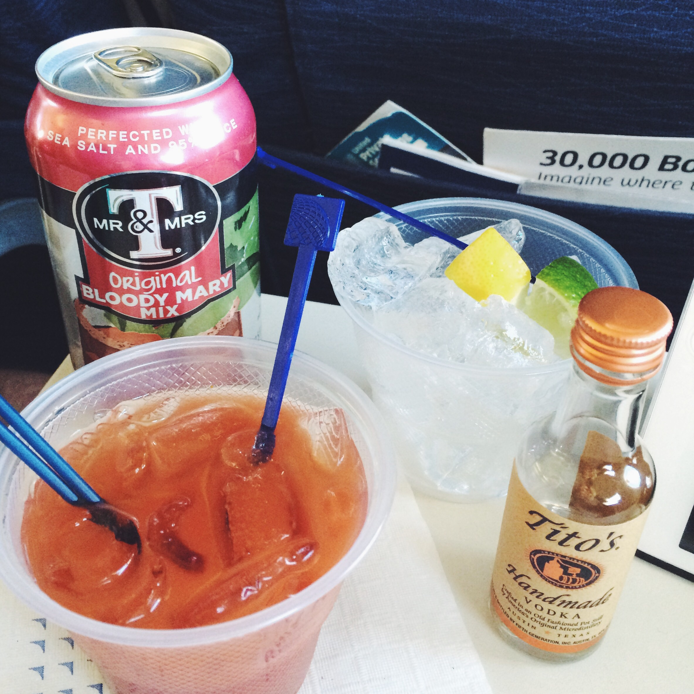 Bloody Mary's in Flight to Honolulu
