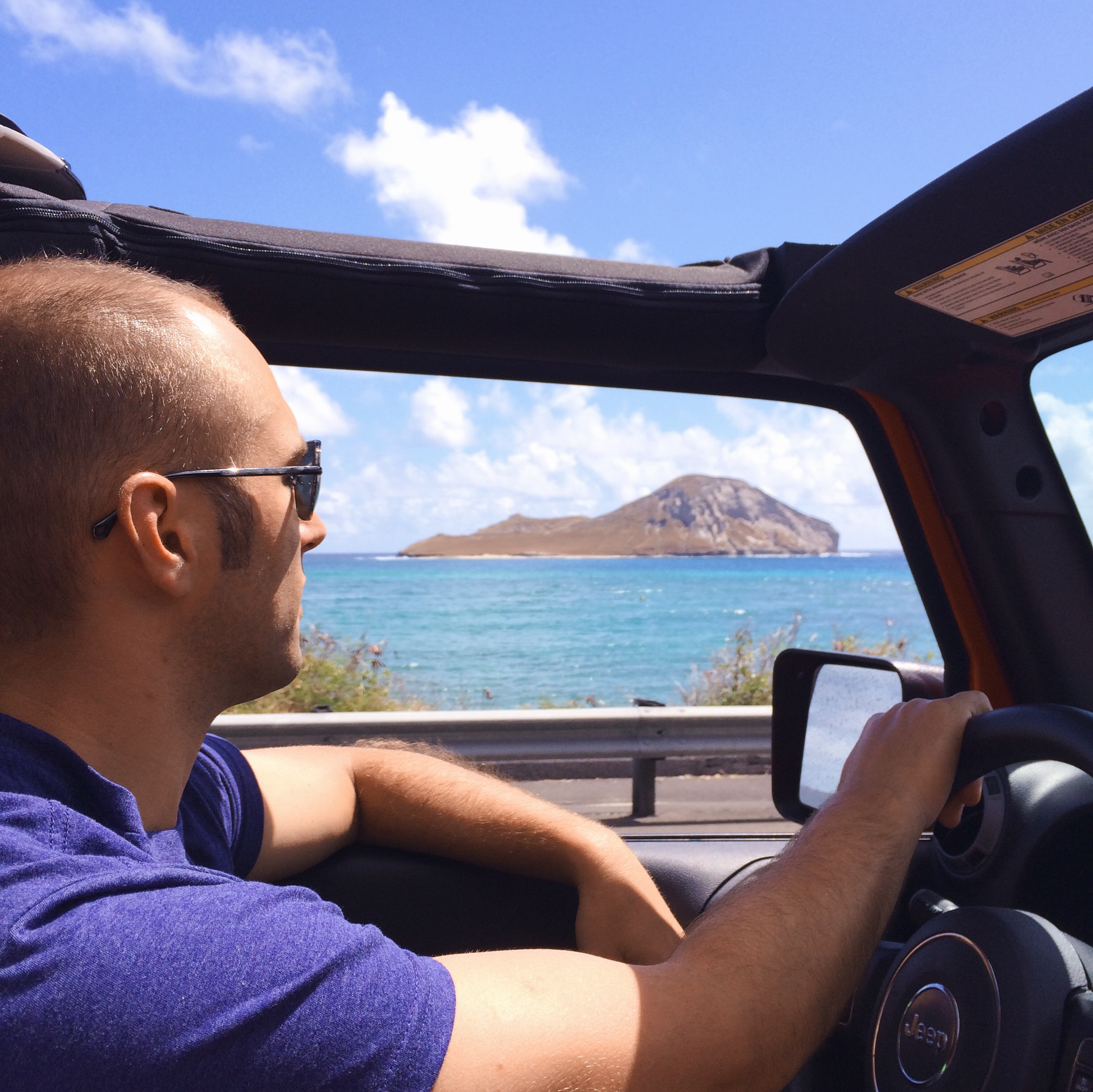 Cruising in the Jeep on our last full day in Hawaii.