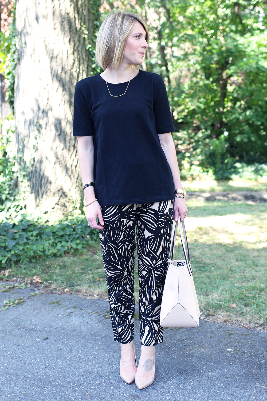 Patterned Jogging Pants, Black & Nude Outfit Idea