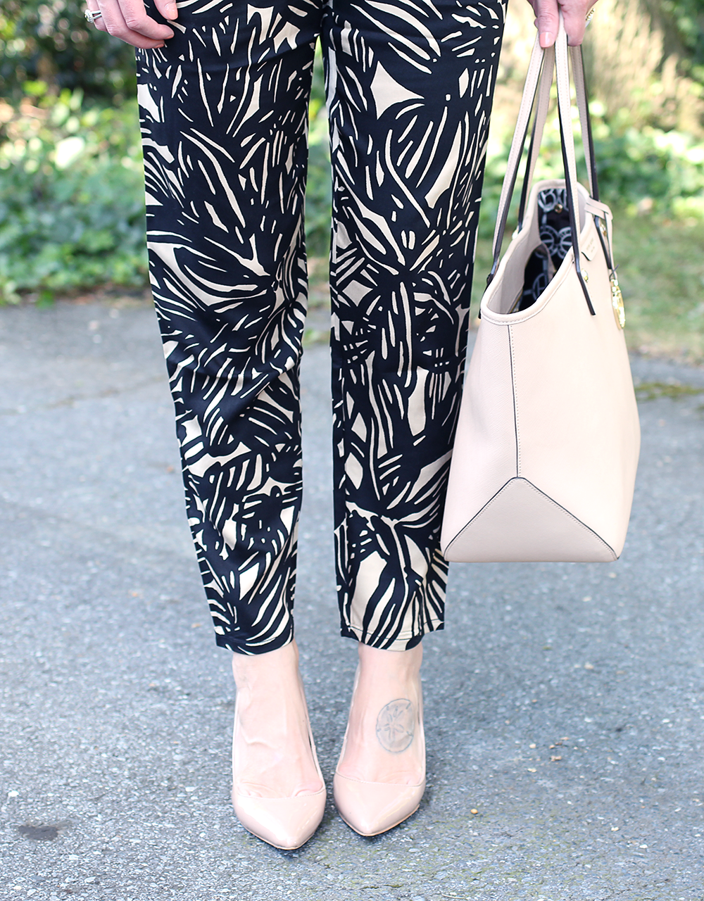 Classic Nude Heels, Summer to Fall Outfit, Patterned Work Pants