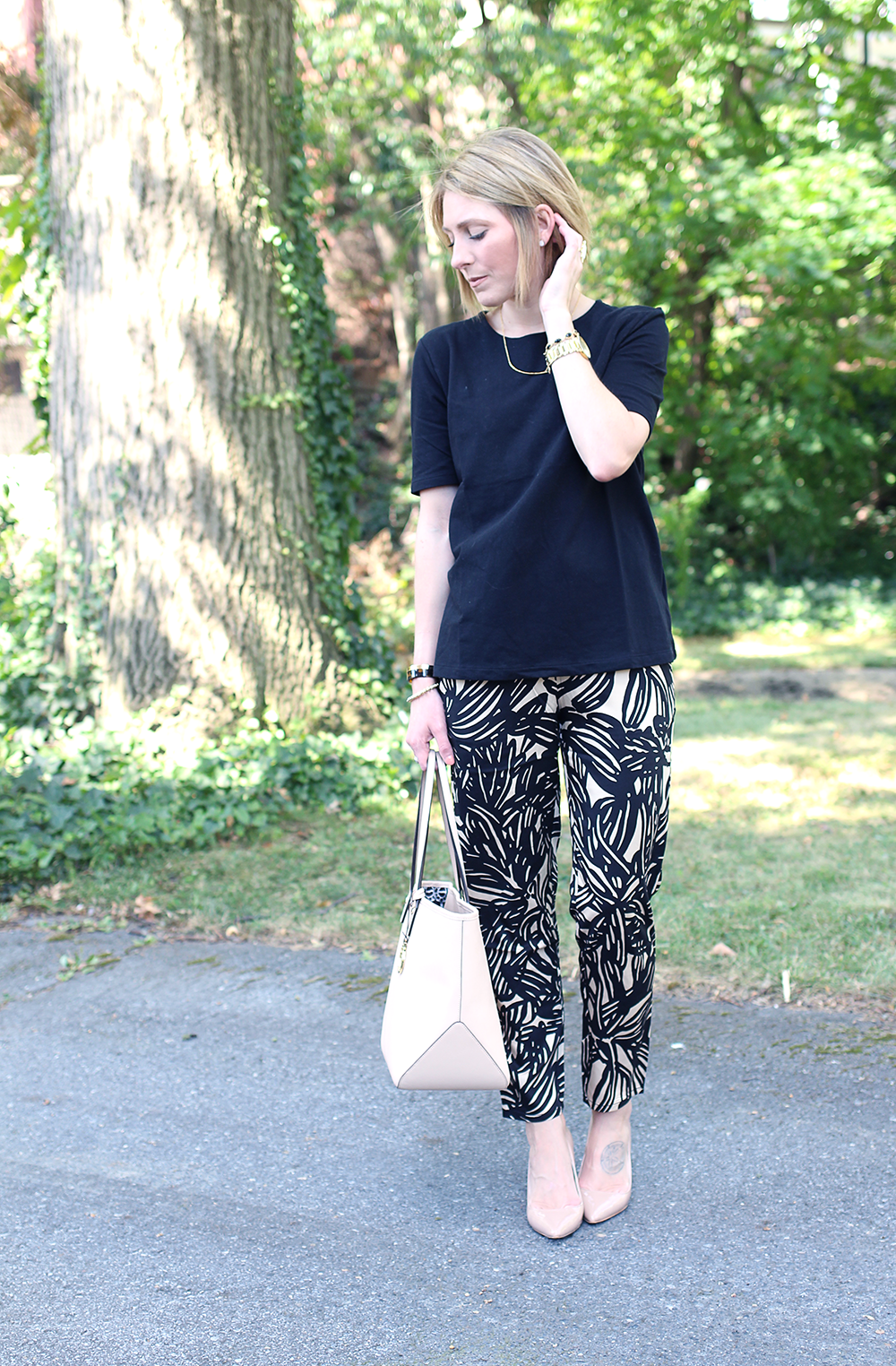Classic Black and Beige Outfit, Comfy Jogger Pants for Work