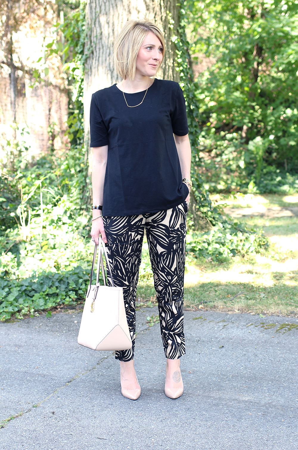 Comfy Nude Heels, Everyday Work Outfit, Patterned Jogger Pants