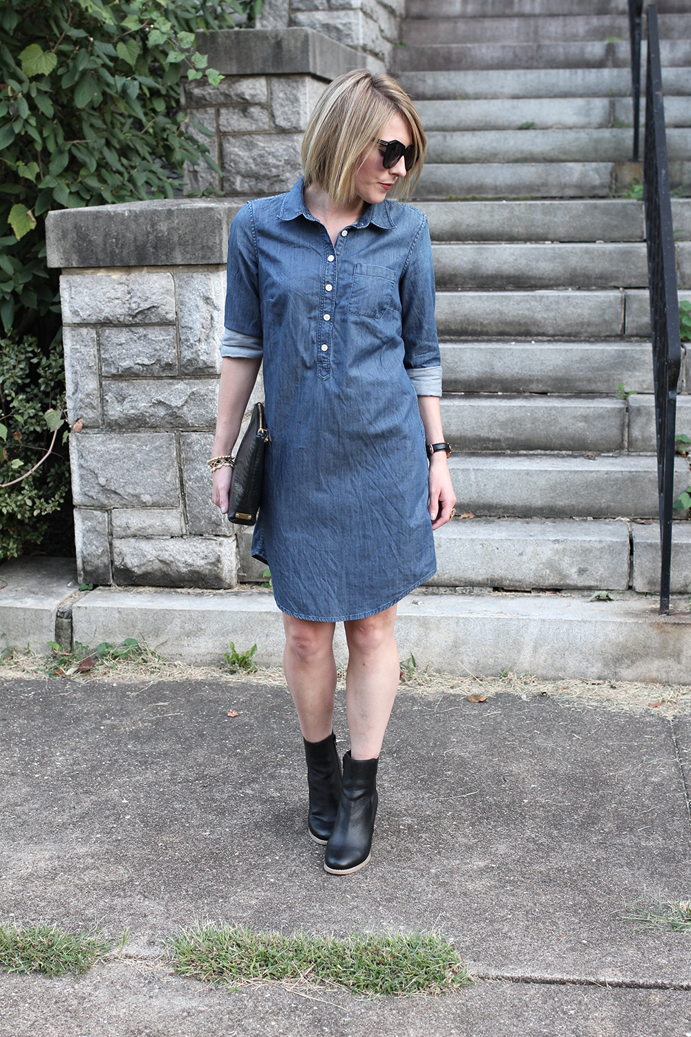 Denim Dress, Black Ankle Booties, Affordable Fall Booties