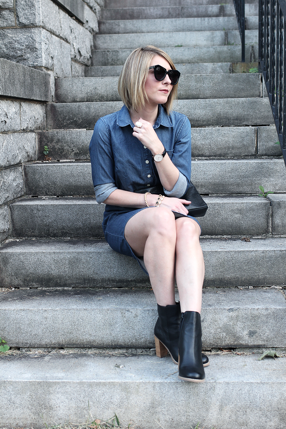 Black Fall Booties, Sole Society Booties, Dark Denim Dress