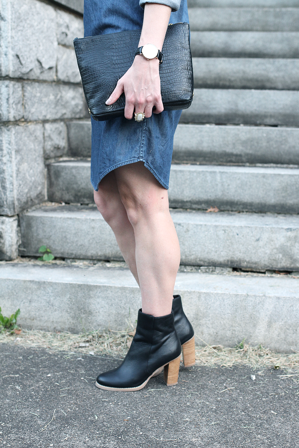 Affordable Fall Booties, Denim and Black