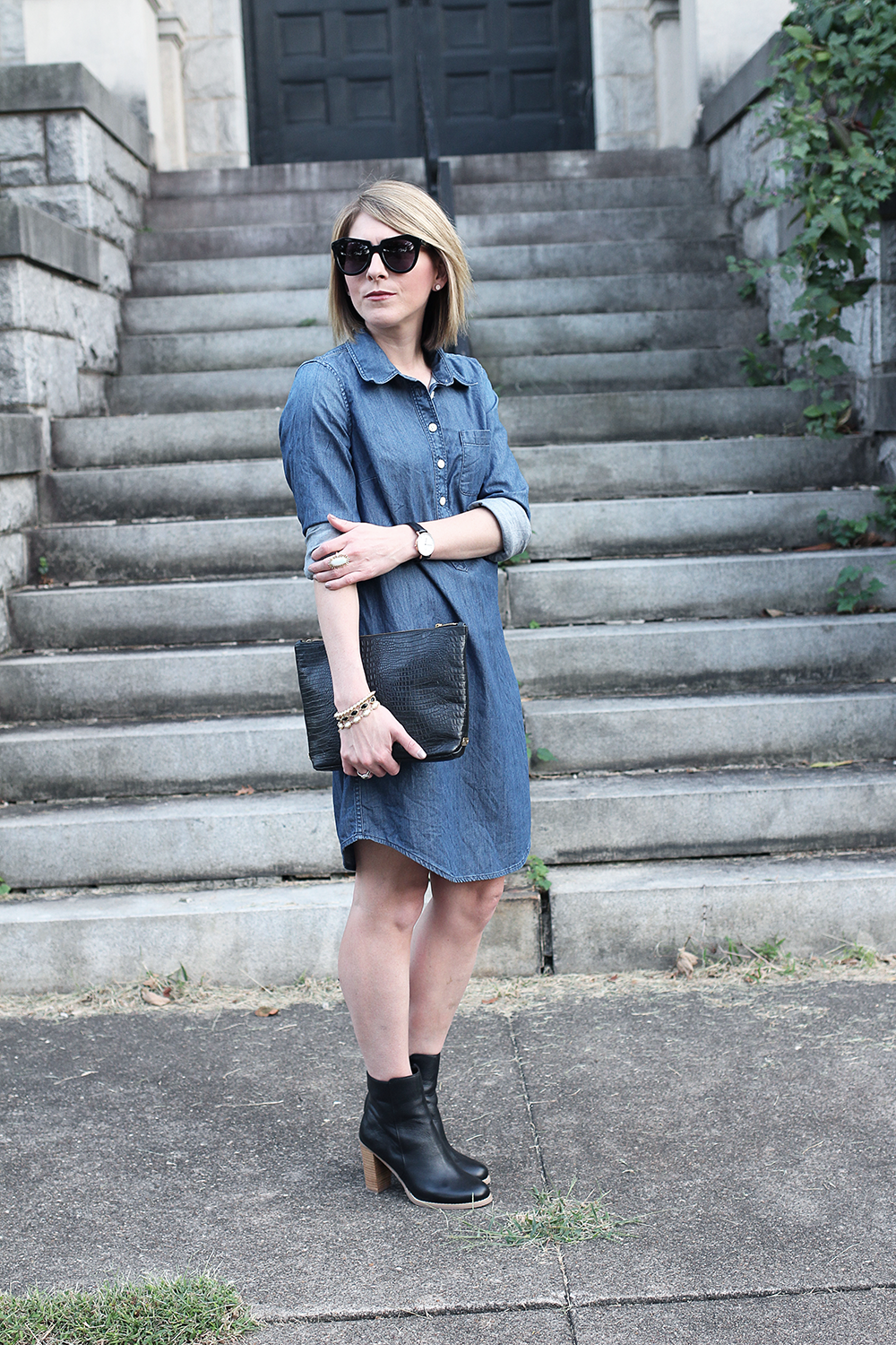 Denim Dress, Sole Society Booties, Affordable Fall Booties