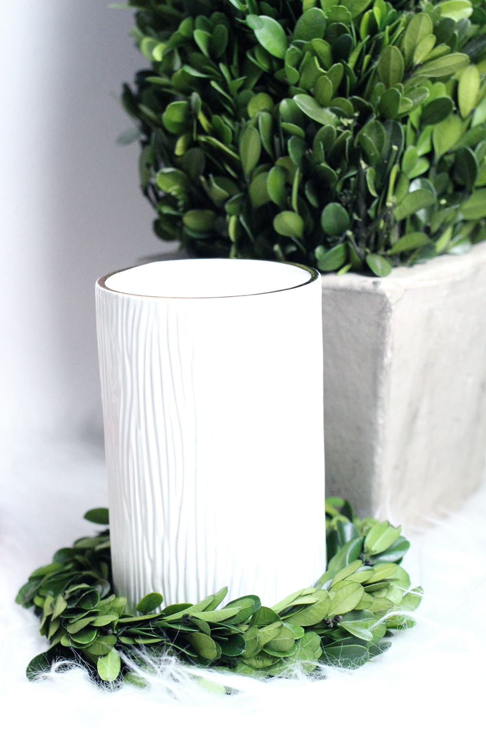 Fraiser Fir Fall Candle, White and Green Holiday Decor