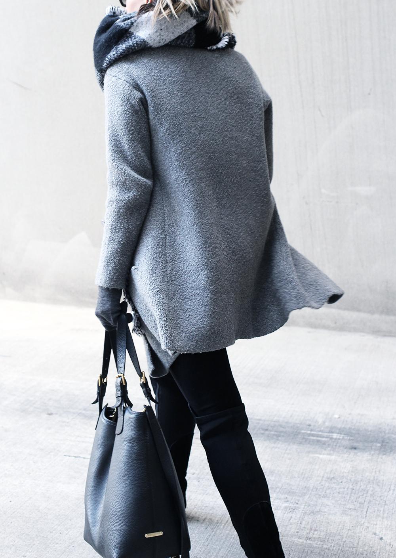Black Pants, Grey Jacket, Black OTK Boots, Plaid Blanket Scarf