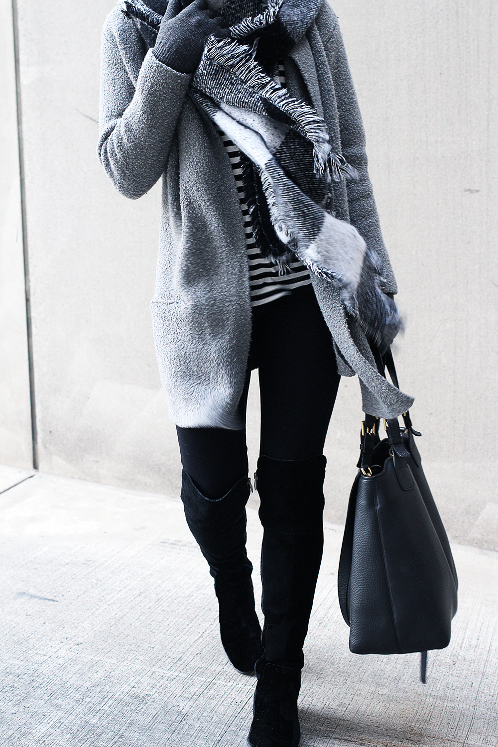 Monochromatic Outfit, Black Over The Knee Boots