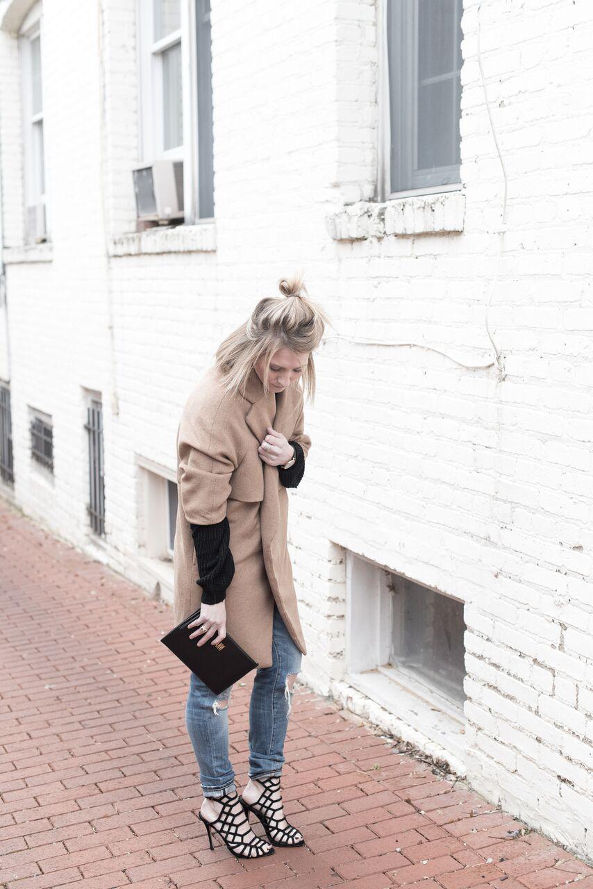 Oversized Camel Coat, Black Strappy Heels, Winter Layers