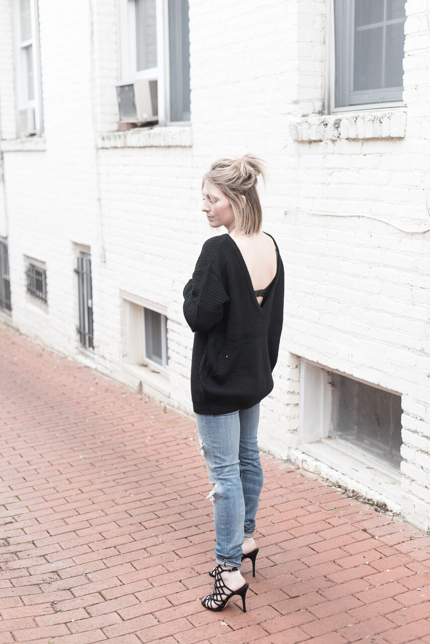 Open Back Sweater, Comfy Winter Sweater, Ripped Denim and Heels