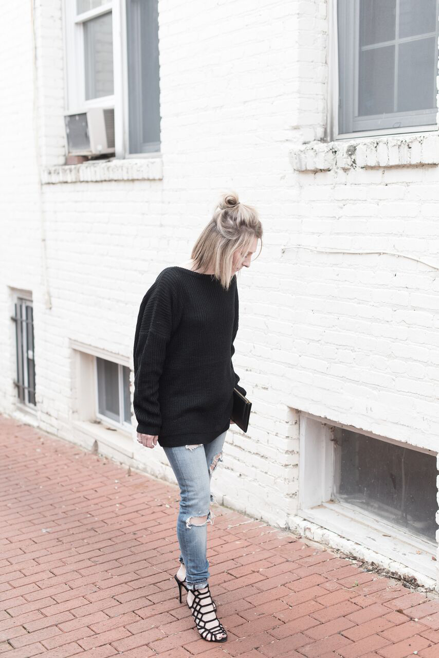 Blonde Hair, Black Sweater, Black and Denim
