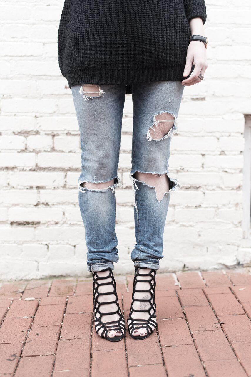 Ripped Denim, Oversized Black Sweater, Strappy Black Heels