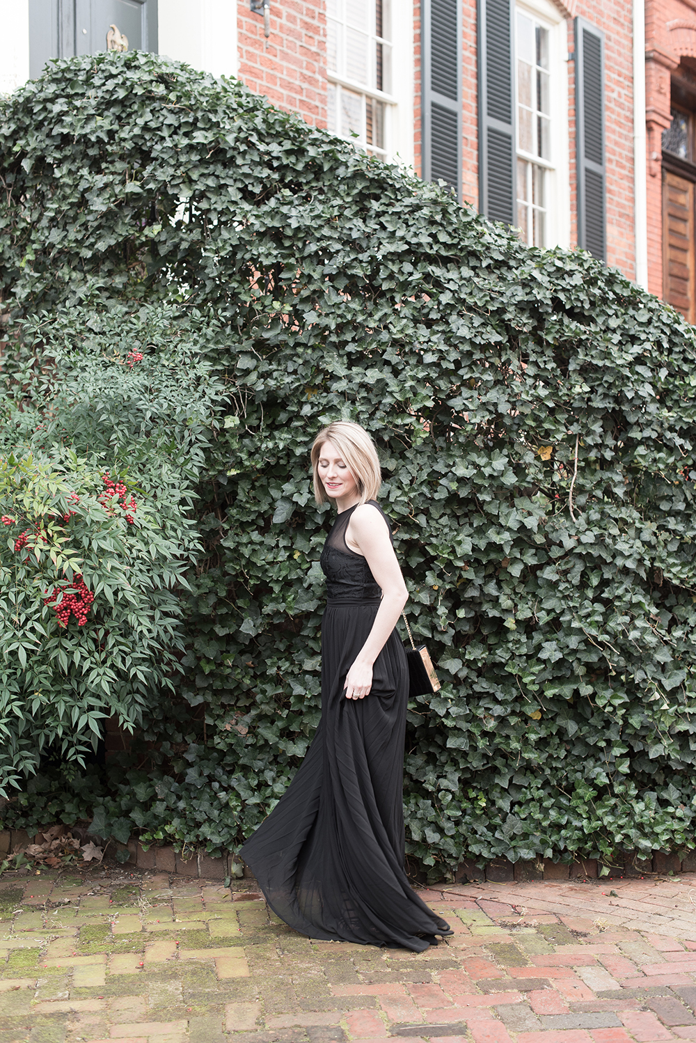 Black Holiday Dress, Embroidered Maxi Dress