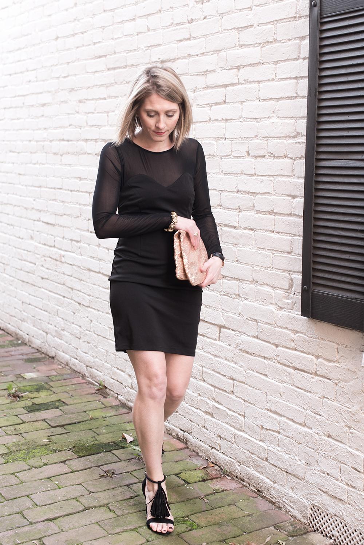Black Fringe Heels, Black Cocktail Dress