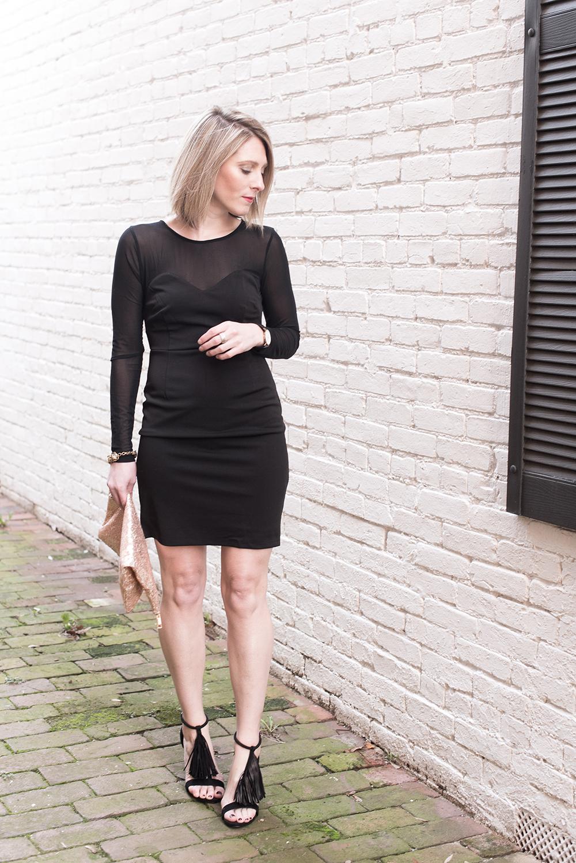 Black Sheer Cocktail Dress, Date Night Look, Little Black Dress