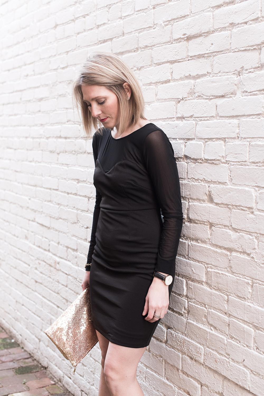 Black Bodycon Dress, Sheer Black Long Sleeve Dress, Rose Gold Clutch