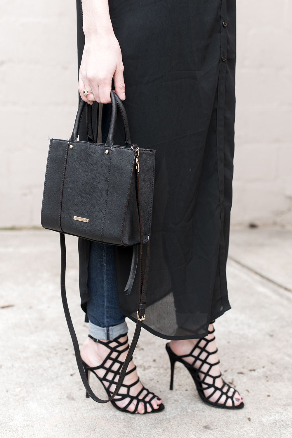 Mini Minkoff Bag, Black Cage Heels