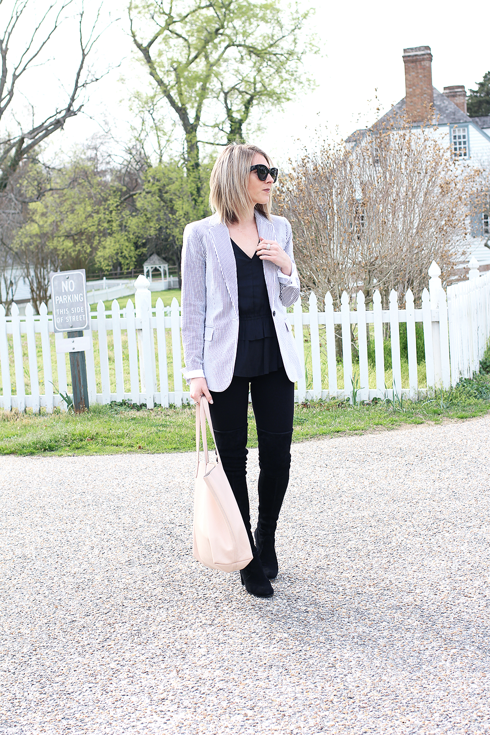 Black Over The Knee Boots, Blush Leather Bag