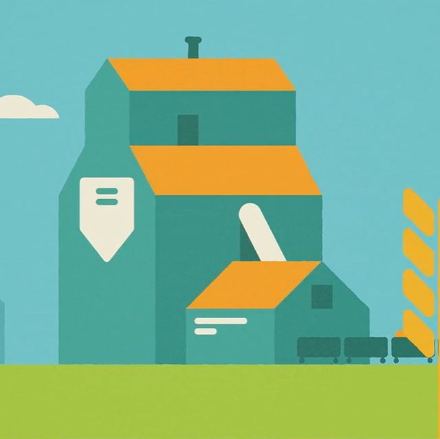 Many grain elevators like this still pepper the Albertan landscape. (Still from our video for RINSA) Illustration by @jjmccullough . . . #animation #aftereffects #adobe #agencylife #abcreates #vfx #output #lethbridge #history #alberta #canada #wheat #entrepreneur #contentmarketing #contentcreators #yql #cartoon #artistsoninstagram #abinnovates #prairies #coulees @jjmccullough