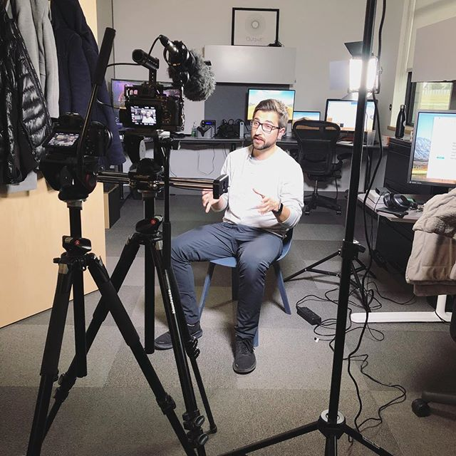 "From behind the camera, to infront! 🎥 Shooting some video for the University of Lethbridge. Bryn is being recognized as ""Young Alumnus of the Year""! 🎉 . . . . . #awards #uofl #universityoflethbridge #university #alumni #recognition #congratulations #camera #interview #create #animation #post #postproduction #vfx #motiongraphics #mograph #video #edit #editing #3d #vr #agencylife #postchat"