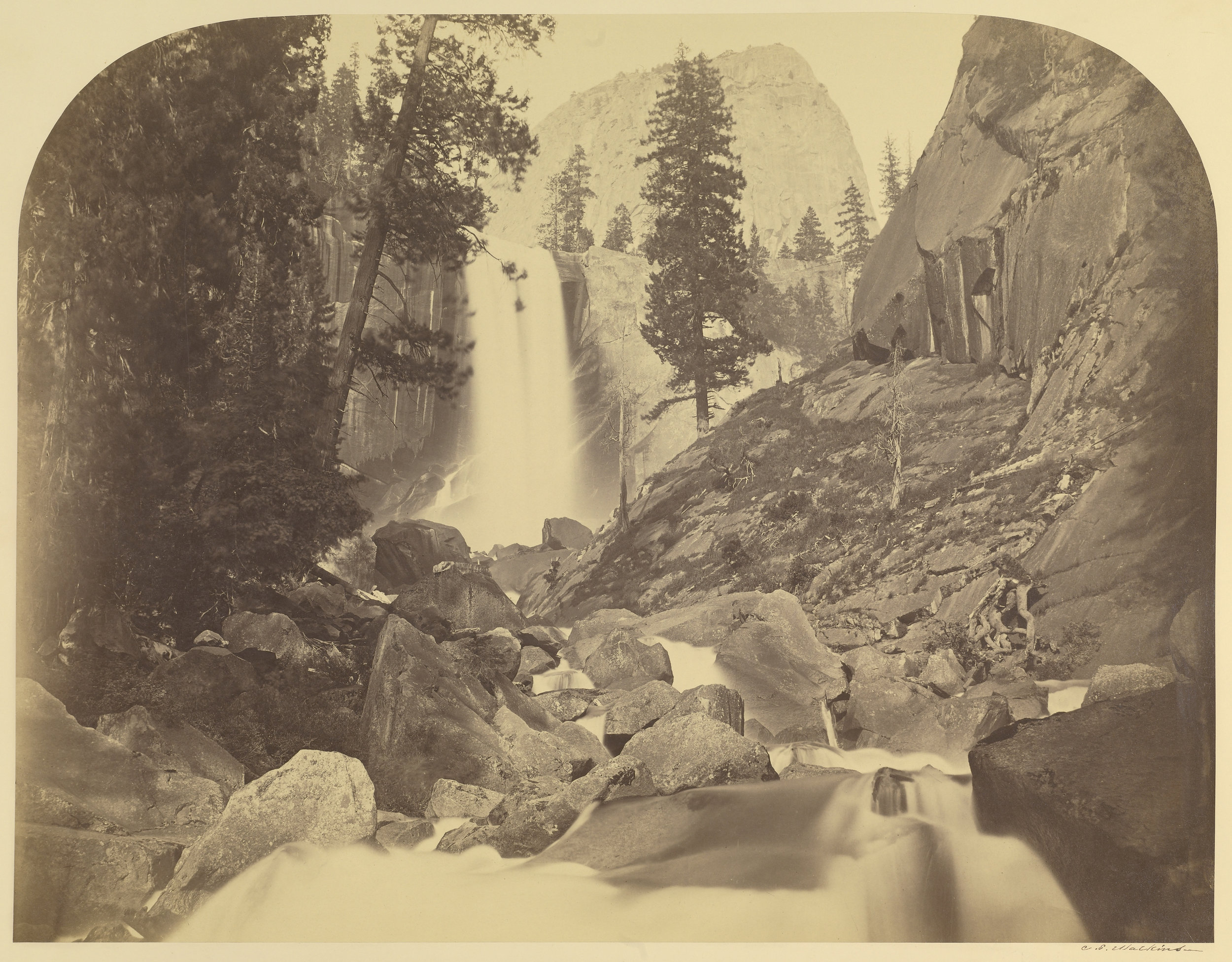 Carleton Watkins (American, 1829 - 1916)  [Piwayac - Vernal Fall - 300 ft. Yo Semite] , 1861, Albumen silver print 40.2 × 52.1 cm (15 13/16 × 20 1/2 in.) The J. Paul Getty Museum, Los Angeles