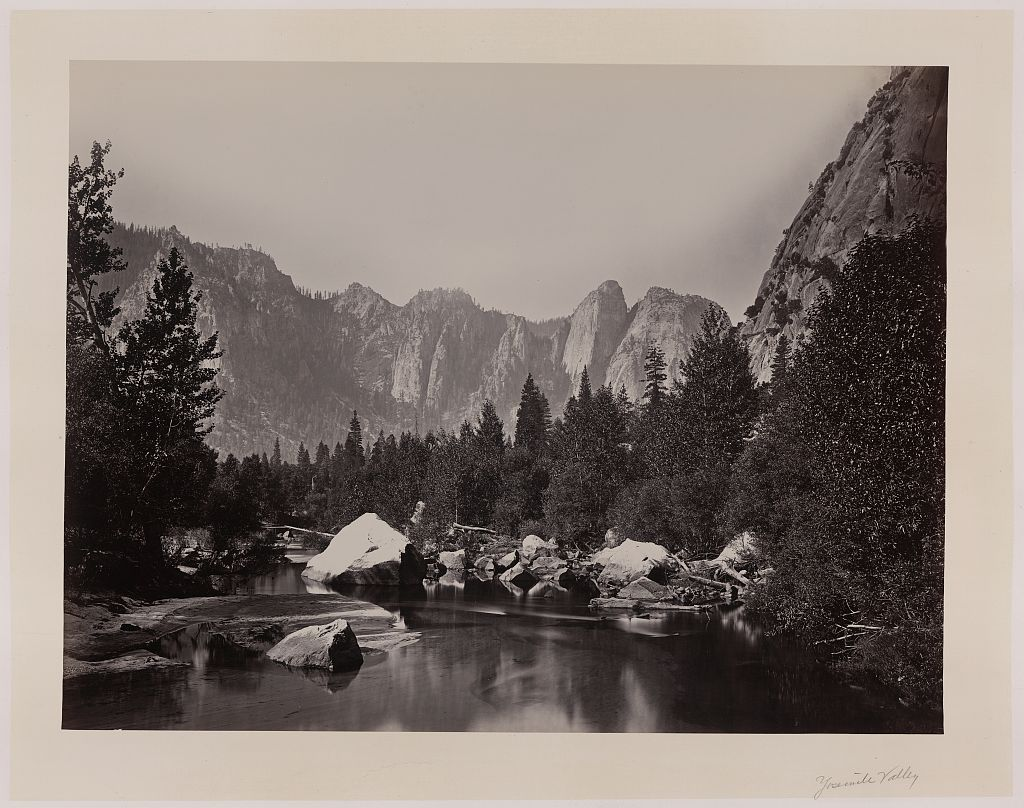 [Stream with trees and mountains in background, Yosemite Valley, Calif.]