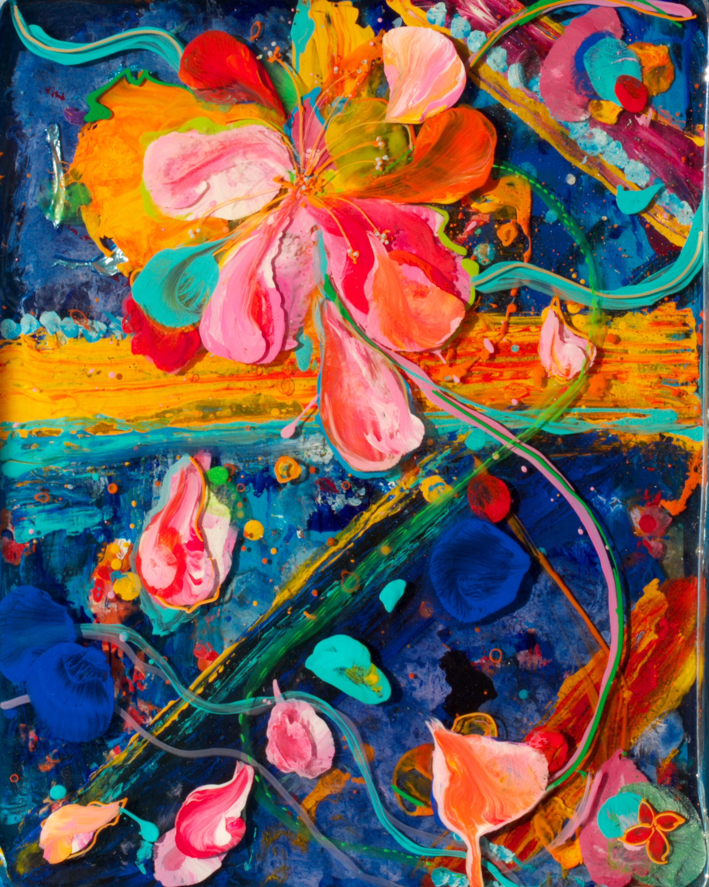 """""""Yellow Cross Hibiscus""""   12"""" x 14"""" acrylic & resin on canvas, framed   - SOLD"""